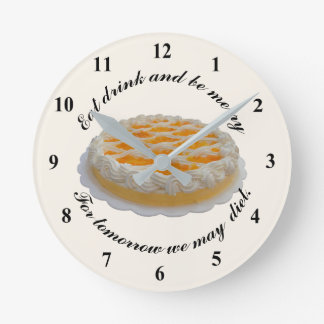 """Diet """"Eat Drink and be  Merry"""" Round Clock"""