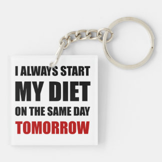 Diet Tomorrow Double-Sided Square Acrylic Key Ring