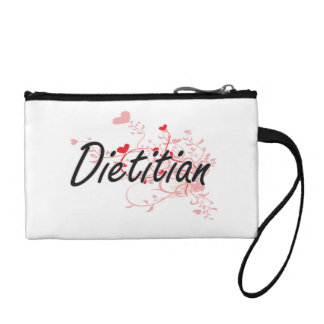 Dietitian Artistic Job Design with Hearts Coin Purse
