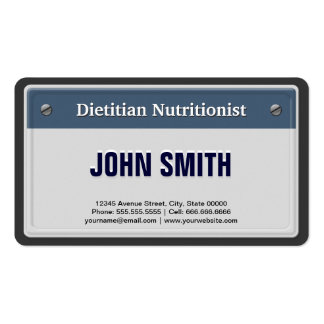 Dietitian Nutritionist - Cool Car License Plate Business Card Template