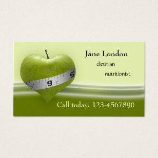 Dietitian Nutritionist Green Heart Business Card