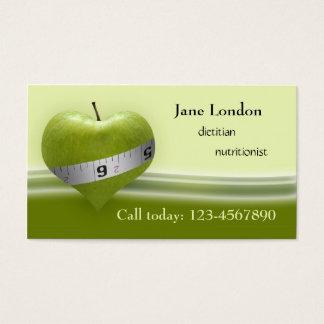 Dietitian Nutritionist Green Heart Business Card