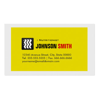 Dietitian Nutritionist - Urban Yellow White Business Card Templates