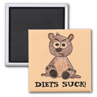 Diets suck! Grumpy Little Bear Cub Square Magnet
