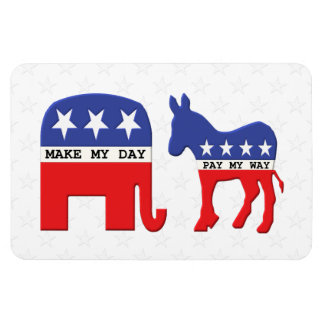 Difference Between Republicans and Democrats Funny Rectangular Magnets