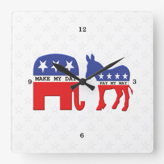 Difference Between Republicans and Democrats Funny Square Wall Clock