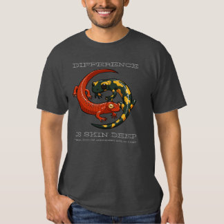 Difference Is Skin Deep Smiling Salamander Cartoon Tee Shirts