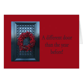 Different door - Christmas wreath new address card