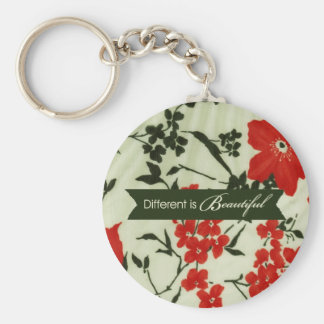 Different is beautiful vintage floral basic round button key ring