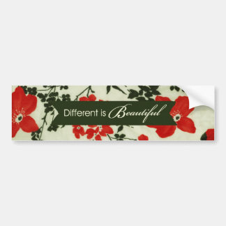 Different is beautiful vintage floral bumper sticker