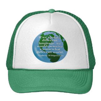 Different language different world Quote. Globe Hat
