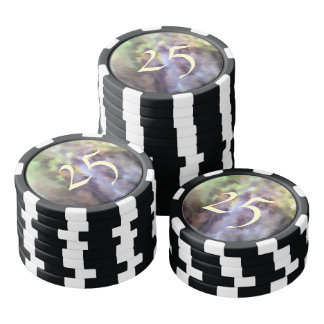 Different multicolored pattern poker chips