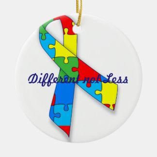 Different not Less Autism awareness circle ornamen Round Ceramic Decoration