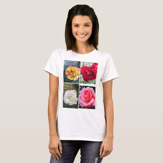Different roses color Women's Basic T-Shirt, White T-Shirt