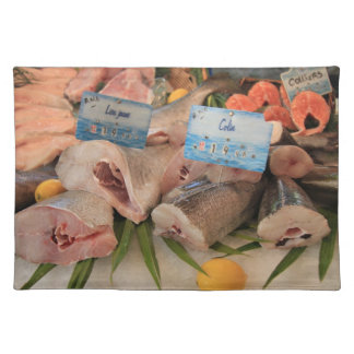 Different sorts of fish on a local fish market placemat