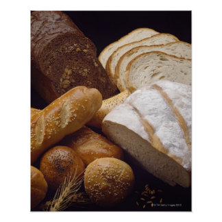 Different types of artisan bread poster