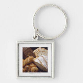 Different types of artisan bread Silver-Colored square key ring