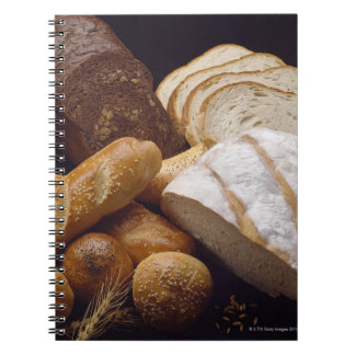Different types of artisan bread spiral notebook