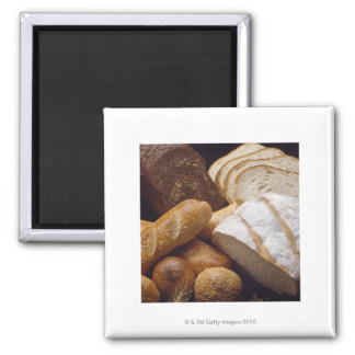 Different types of artisan bread square magnet
