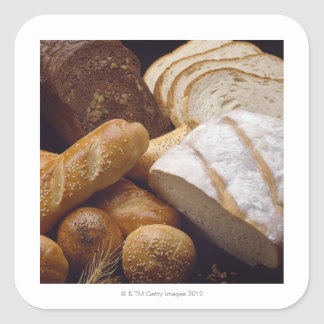 Different types of artisan bread square sticker