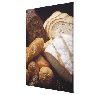 Different types of artisan bread stretched canvas prints