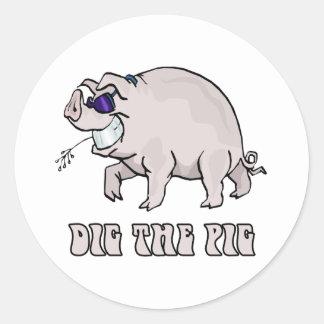 Dig the Pig Round Sticker
