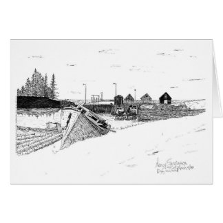 Digby Nova Scotia, Canada Fishing Boats, Pen & Ink Card