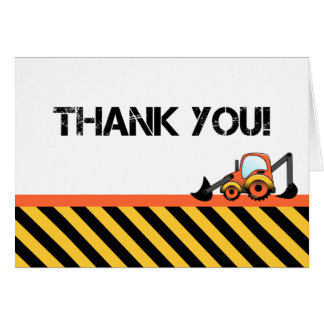 Digger Construction Thank You Cards