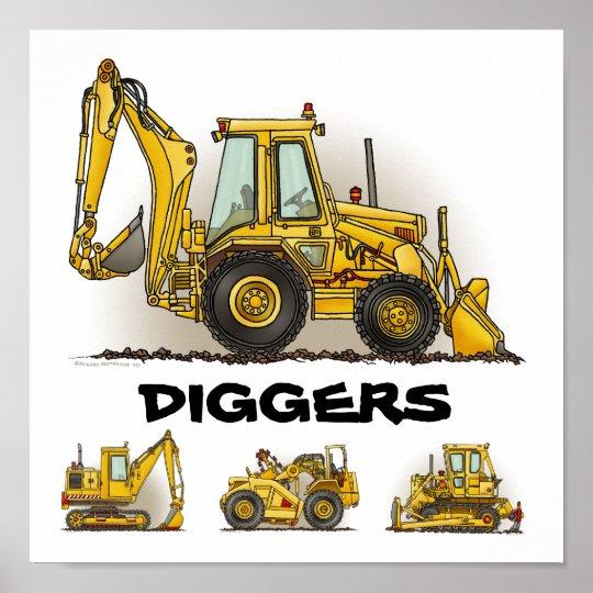 Diggers Backhoe Dozers Construction Poster Print