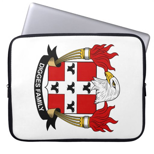 Digges Family Crest Laptop Computer Sleeves