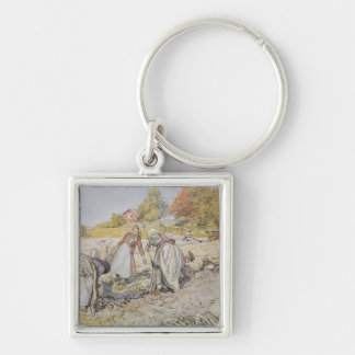Digging Potatoes, 1905 Silver-Colored Square Key Ring