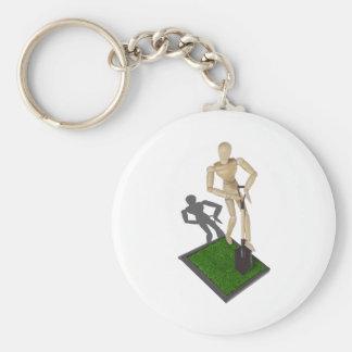 DiggingShovelInGrass112611 Basic Round Button Key Ring