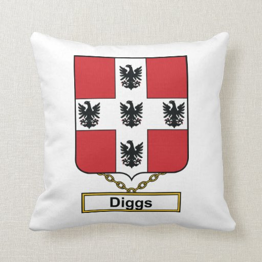 Diggs Family Crest Throw Pillows