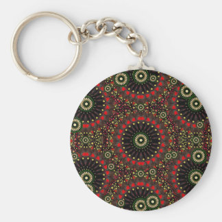 Digital Abstract Geometric Pattern in Warm Colors Key Chain