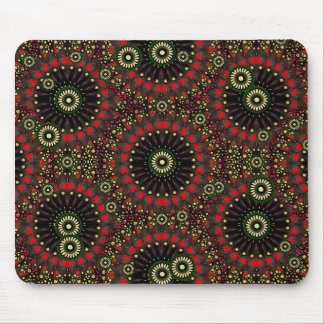 Digital Abstract Geometric Pattern in Warm Colours Mouse Pad