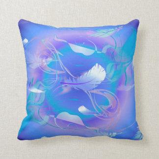 Digital Art blue Feathers Cushion