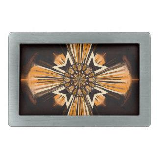 Digital art cross rectangular belt buckles