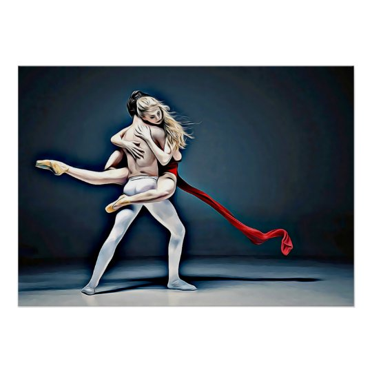 Digital Art Dancing Couple Poster