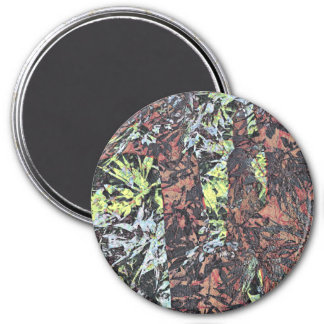 Digital art of floral flower pattern with tree 7.5 cm round magnet