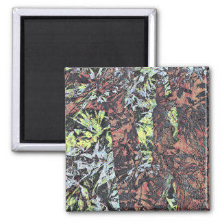Digital art of floral flower pattern with tree square magnet