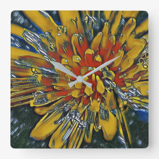 Digital Art Photography: Dandelion Square Wall Clock