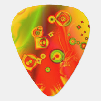 Digital Art Red Yellow Green Abstract Pattern Guitar Pick