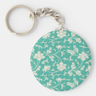Digital art white floral pattern illustration basic round button key ring