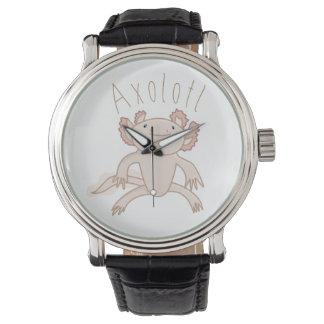 Digital Axolotl Illustration, Cute Animal Watch