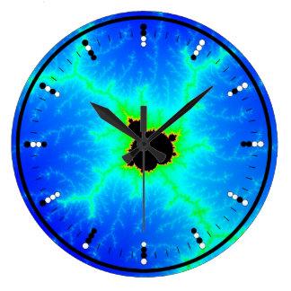 Digital (Binary) Analog Clock w Mandelbrot Fractal