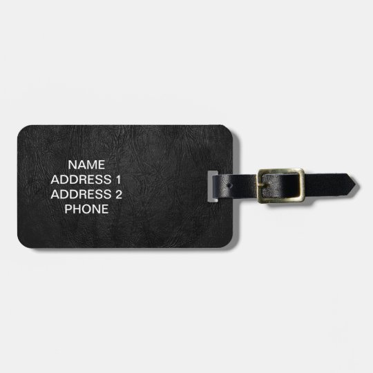 Digital Black Leather Luggage Tag