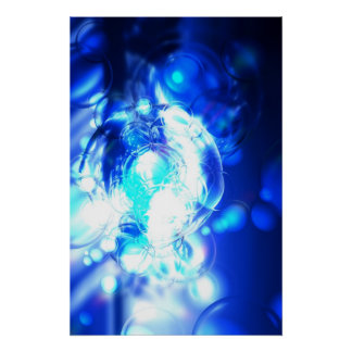 Digital Blue Abstract Art Poster Print