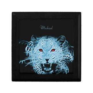 Digital blue leopard fractal gift box
