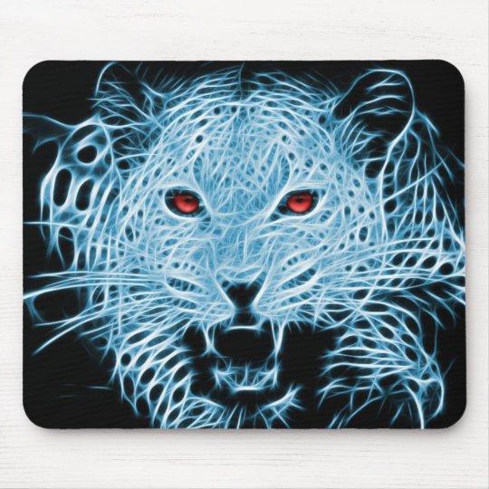 Digital blue leopard fractal mouse mat