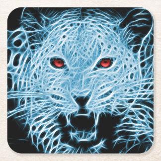 Digital blue leopard fractal square paper coaster